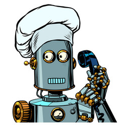 The robot cook takes order menu food delivery vector