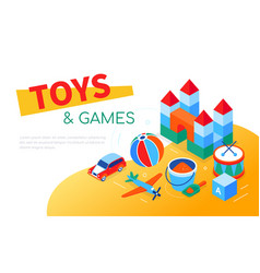 toys and games - modern isometric web banner vector image