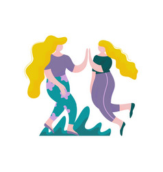 Two beautiful plump girls with long hairs jumping vector