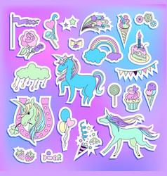 unicorn multicolor stickers with unicorns vector image