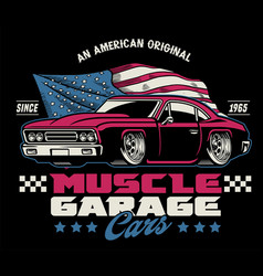vintage classic design american muscle car vector image