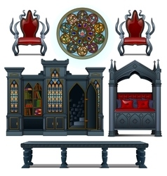 Vintage design furniture of the medieval house vector