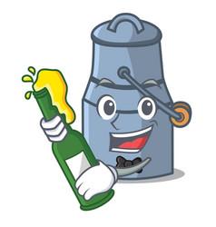 With beer milk can mascot cartoon vector