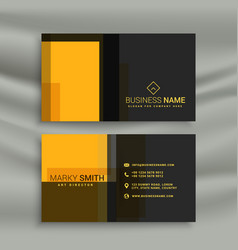 Yellow and black simple style business card vector