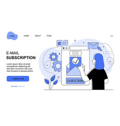 young female character is subscribing on e-mail vector image