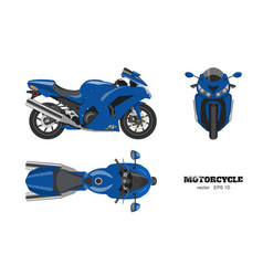 blue motorcycle in realistic style vector image vector image