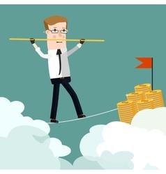 Businessman rope walk dollar sign pole business vector