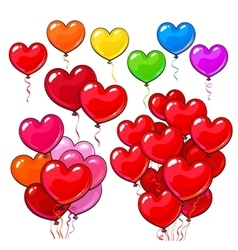 Big set of bright and colorful heart shaped vector image vector image