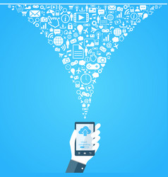 cloud technology hand with phone vector image