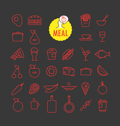 Different meal icons collection web and mobile vector