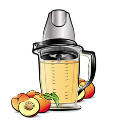 drawing color kitchen blender with peach juice vector image