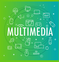 Multimedia concept different thin line icons vector