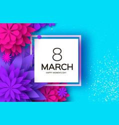 ultra violet pink paper cut flower 8 march vector image vector image