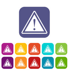 warning attention sign with exclamation mark icons vector image vector image