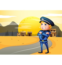 A police at the street in the middle of the night vector image vector image
