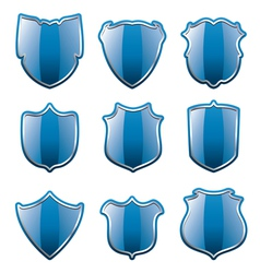 blue shields vector image vector image