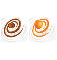 Milk cream yogurt swirl with coffee apricot vector