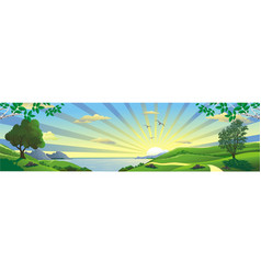 panorama landscape sunrise over the bay vector image vector image