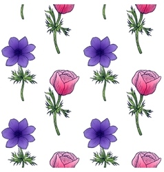 seamless background of flower anemones vector image vector image