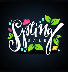 spring sale lettering composition with images vector image vector image