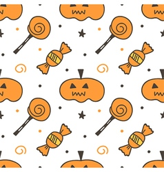 Trick or treat halloween seamless pattern vector image