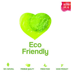 watercolor green eco friendly heart shape label vector image vector image