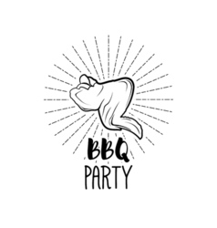 BBQ Party Badge Chicken wing grill label isolated vector image