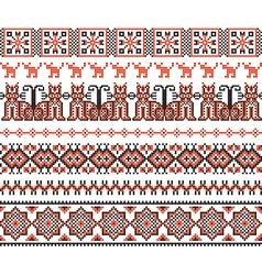 Cross stitch ethnic ukraine pattern vector