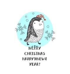 penguin in Santa hats vector image