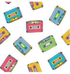 seamless pattern with plastic cassette music vector image vector image