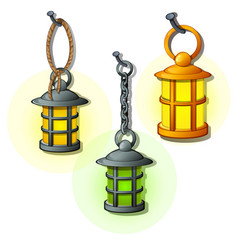 set of antique lanterns on chains and rings vector image vector image