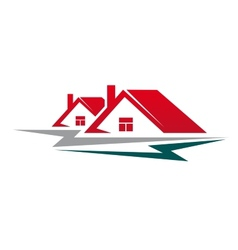 Two residential houses symbol vector image vector image