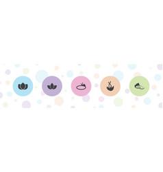 5 lotus icons vector