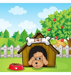 A puppy and his dog food vector