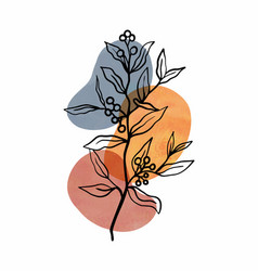 Abstract botanical wall art with leaves vector