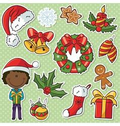 African-American Santa Boy vector image