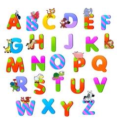 Alphabet with animals vector