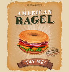 american bagel snack poster vector image