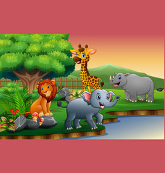 animals cartoon are enjoying nature by the river vector image