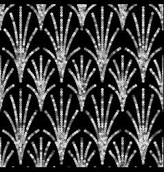 Art deco silver sequin seamless pattern gatsby vector