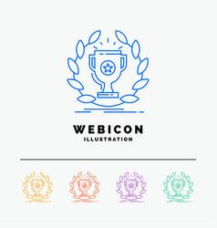 award cup prize reward victory 5 color line web vector image