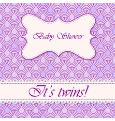 Baby shower flake background twins vector
