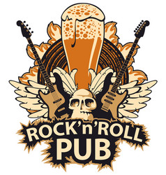 Banner for rock and roll music pub vector