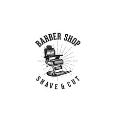 barber shop shave and cut classic logo design vector image