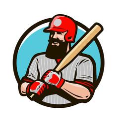 Baseball player in helmet holding bat vector