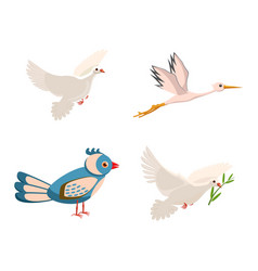 Bird icon set cartoon style vector
