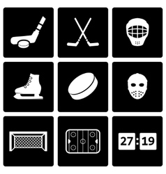 black hockey icon set vector image