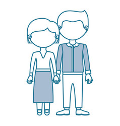 Blue contour with color sections faceless couple vector