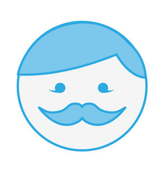 Blue round moustache man face cartoon vector
