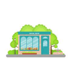 bookstore front in flat design bookshop facade vector image